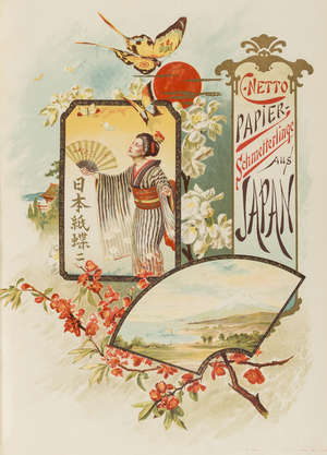 108  Japan.- Netto (C.) Papier-Schmetterlinge aus Japan, first edition, plates and illustrations by Paul Bender, some chromolithographed or etched, original half morocco, with the original dust-jacket, 4to, Leipzig, 1888.