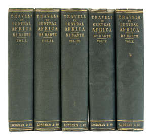 2  Africa.- Barth (Heinrich) Travels and Discoveries in North and Central Africa, 5 vol., first English edition, 1857-58.