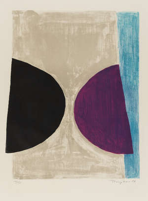 9  Terry Frost (1915-2003) Black, Purple and Blue (Kemp 46)