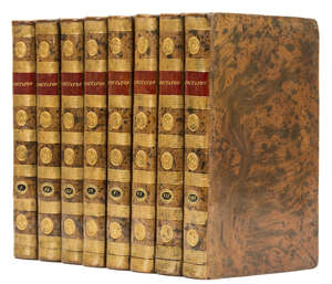 2  Addison (Joseph) Richard Steele and others., The Spectator, 8 vol., engraved frontispieces and plates, elegant contemporary tree calf, spines gilt, 12mo, for Messrs. Longman, Dodsley, Law..., [c.1800].