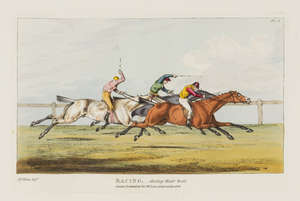5  Alken (Henry) The National Sports of Great Britain, large paper copy, 50 hand-coloured soft-ground etchings, modern half red morocco, spine gilt, folio, Thomas M'Lean, 1825.