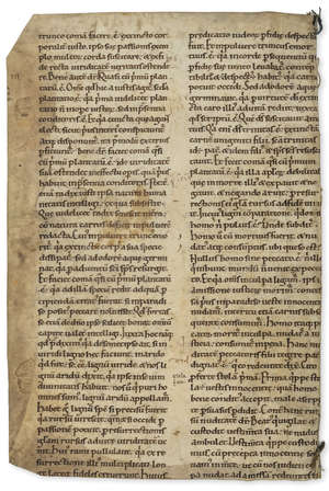 9  Gregory I (Pope) Substantial fragment from 2 pages of Saint Gregory's Moralia, [12th century].