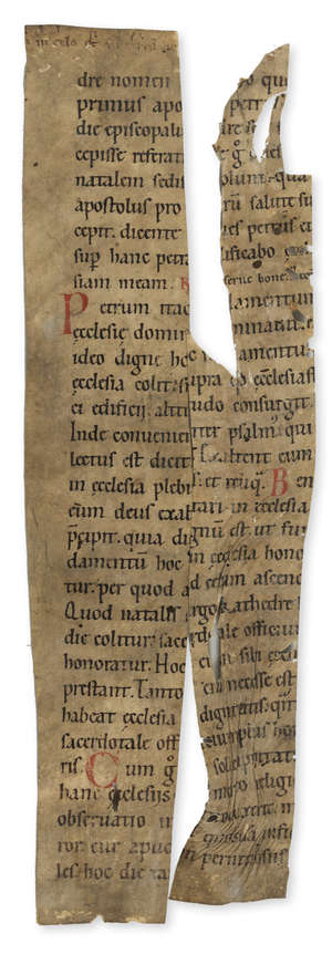 6  St. Augustine.- Two fragments from Pseudo-Augustine In Cathedra S. Petri, decorated manuscript on parchment, in Latin, 12th century.