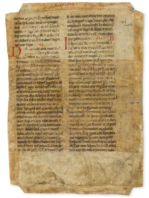 7  Bible (Latin) Leaf from a large Latin Bible, decorated manuscript on parchment, in Latin, Germany, mid-12th century.