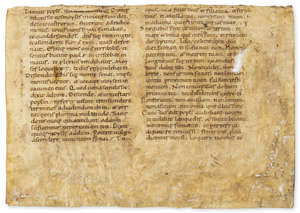 4  Bible, Latin. Large fragment of a leaf from a Latin Bible, includes part of the Ten Commandments, 11th century.