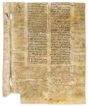 14  Justinianus I. Two fragments of leaves from a Justinian Codex, decorated manuscript on parchment, in Latin, late 13th century.