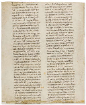 10  Latin Bible.- Single leaf from a Latin Bible, manuscript on parchment, in Latin, probably Italy, end of 12th century.