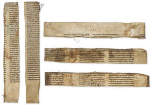 5  Twelfth century English Bible.- , Five large fragments from a giant Latin Bible, decorated manuscript on parchment, England, early 12th century.