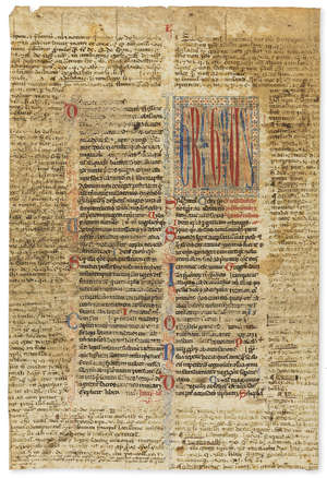 15  Leaf from a manuscript of the Decretals of Gregory IX, decorated manuscript on parchment, in Latin, late 13th century.