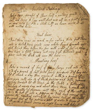 7  Cookery.- [Collection of recipes], manuscript in several hands, [c. 1750].