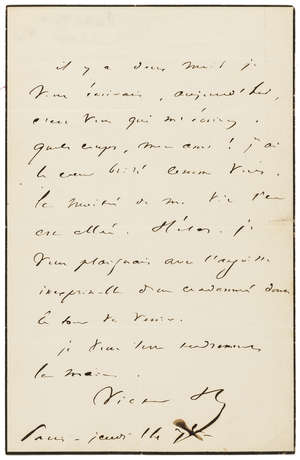 10  Hugo (Victor) Autograph Letter signed to Odilon Barrot, 1843, sending condolences on the death of his daughter Marie Barrot, two months after the death of his daughter Léopoldine.