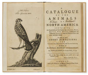 373  Americas.- Forster (John Reinhold) A Catalogue of the Animals of North America..., first edition, engraved frontispiece, by B.White, 1771.