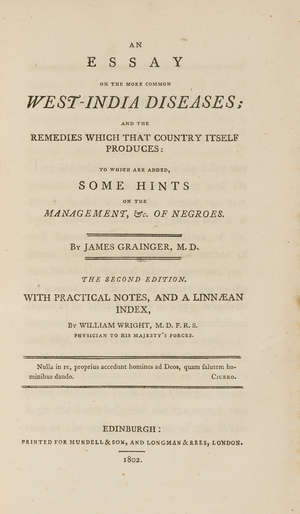 370  Americas.- British American Land Company. Information respecting the Eastern Townships of Lower Canada...for the Sale and Settlement of Lands..., first edition, 1833 & Grainger. An Essay on the more common West-India Diseases, 1802, 2 works in 1 vol.
