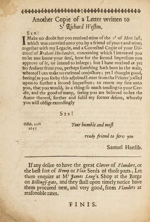 279  Hartlib (Samuel).- Weston (Sir  Richard) A Discours of Husbandrie used in Brabant and Flanders..., second edition, by William Du-Gard [for Samuel Hartlib], 1652.