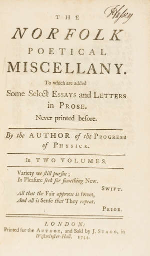 16  Cowper (Ashley) The Norfolk Poetical Miscellany, 2 vol., first edition, for the Author, and sold by J. Stagg, 1744.
