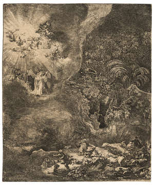 17  Rembrandt van Rijn (1606-1669)  The Angel Appearing to the Shepherds