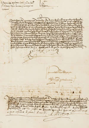 """2  Isabella I (Queen of Castile) Order to her chamberlain Sancho de Peredes to give a quantity of silver to her treasurer Alonso de Morales, D.s. """"Yo la Reyna"""", also signed by Miguel Perez d'Almazan secretary, Alonso de Morales treasurer and witnessed by Diego Remirez one of the Queen's clerks, manuscript in Spanish, 1501."""