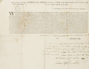 9  War of 1812.- Commission appointing James Ross Commander of the sloop Dart of Saint John, New Brunswick, with autograph note signed by Ross announcing the capture of the schooner Rambler of Portland bound for East Port, printed document with autograph manuscript signed by James Commander, 1813; and 2 others similar (3).