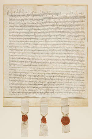 1  Henry IV's embassy to the Countess of Flanders.- Henry IV.- Safe conduct issued by John Croft, William Lyle, councillors, and Nicholas de Ryssheton, ambassadors of Henry IV to negotiate a commercial treaty between England and Flanders, manuscript in French and Latin, 1404.