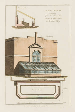 75  Gardening.- Hot-Houses.- Tod (George) Plans, Elevations and Sections, of Hot-Houses, Green-Houses, an Aquarium, Conservatories &c., 27 hand-coloured aquatint plates, original boards, 1823.