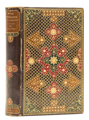 65  Binding.- Bible, Greek.- He kaine diatheke [graecé], contemporary burgundy morocco with onlaid shapes of tan, red & green morocco and elaborately tooled in gilt, Cambridge & London, 1873.