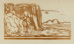 40  Craig (Edward Gordon) A small notebook/album, 44 wood-engravings including 11 proof impressions on india paper for 'Robinson Crusoe', all annotated by the artist in pencil, 1902.