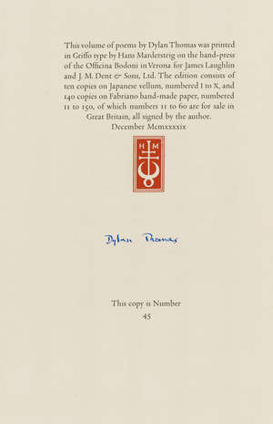 192  Officina Bodoni.- Thomas (Dylan) Twenty-Six Poems, one of 150 copies signed by the author, Officina Bodoni, 1949.