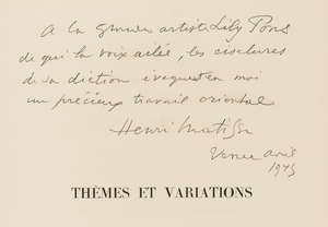 176  Matisse (Henri) Dessins, Themes et Variations, one of 20 copies on Vélin d'Arches, signed and inscribed to Lily Pons, Paris, Martin Fabiani, 1943.