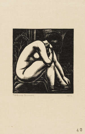 26  Buckland Wright (John) Baigneuse Accroupie, wood-engraving, 1932 & another (2)