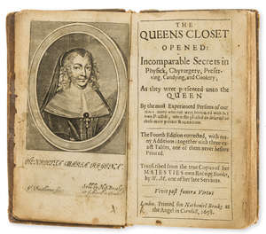 0  Food and drink.- M. (W.) The Queens Closet Opened: Incomparable Secrets in Physick, Chyrurgery, Preserving, Candying, and Cooker,, 2 parts in 1, fourth edition, 1658; bound with another.