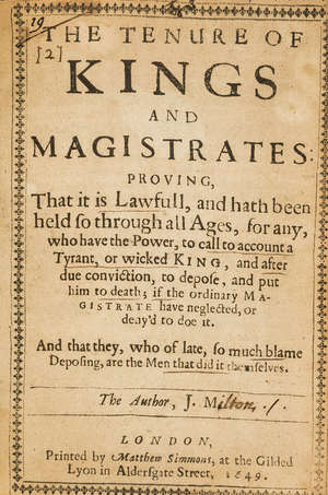 0  Milton (John) The Tenure Of Kings And Magistrates, first edition, 1649.