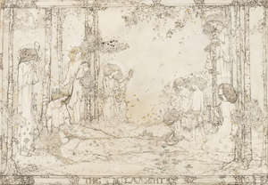 0  King (Jessie Marion, 1875-1949) The Lament, pen and black ink on vellum
