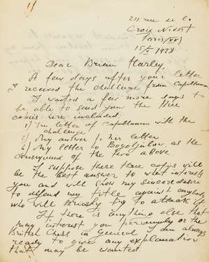145  Alekhine v. Capablanca.- Alekhine (Alexander) Autograph Letter signed to Brian Harley, October 1928, giving copies of correspondence proving his willingness to give Capablanca a rematch for the World Title.