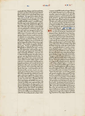 93  Bible, leaf from 1462 Bible Latin.- Single leaf, from Kings I chapters 15 to 17, [Mainz, Johannes Fust and Peter Schoeffer], [1462].