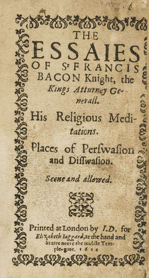 19  Bacon (Sir Francis) The Essaies, I. D[awson]. for Elizabeth Iaggard, , 1624 bound with Apologie, in Certaine Imputations concerning the late Earle of Essex, 1605