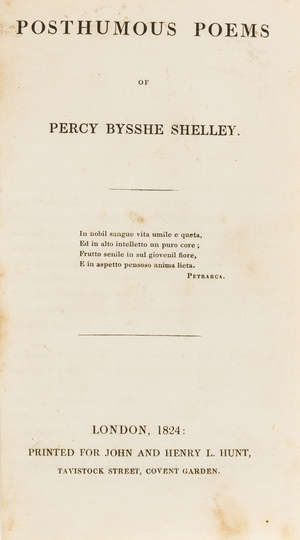 62  Shelley (Percy Bysshe) Posthumous Poems, first edition, 1824.
