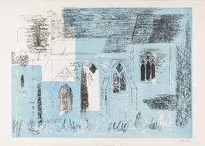 42  John Piper (1903-1992) Lewknor, Oxfordshire: textured walls, traceried windows (Levinson 133)