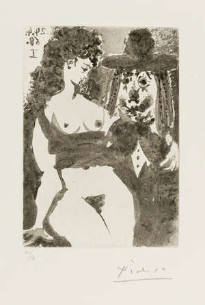 127  Pablo Picasso (1881-1973) 347 Series: Old Clown with Seductive Nude (Bloch 1529)